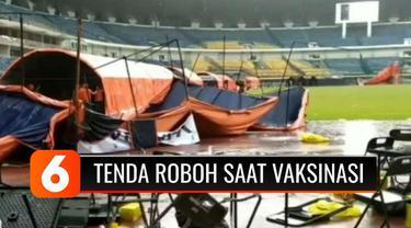 Gubernur Jawa Barat, Ridwan Kamil, meminta maaf atas terjadinya kerumunan saat menggelar vaksinasi Covid-19 di Stadion Gelora Bandung Lautan Api. Kerumunan berawal dari 11 tenda yang disediakan roboh akibat hujan deras.