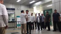 Jokowi-Prabowo bertemu di Stasiun MRT Lebak Bulus, Sabtu (13/7/2019). (Liputan6.com/Lizsa Egeham)
