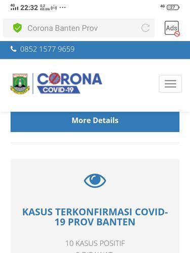 Tangkapan layar informasi terkini jumlah pasien positif dan meninggal dunia Virus Corona Covid-19 Banten, Rabu malam, 18 Maret 2020. (Foto: Liputan6.com/Yandhi Deslatama)
