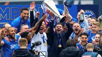 Steven Gerrard berhasil membawa Rangers menjuarai Liga Premier Skotlandia musim ini. (Andrew Milligan/PA via AP)