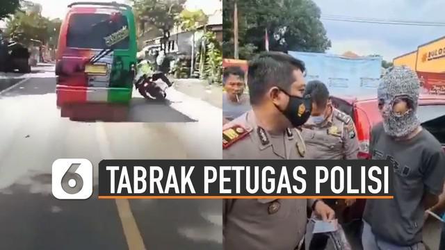 Beredar video pengemudi angkutan umum tabrak petugas polisi saat hendak memberhentikannya.