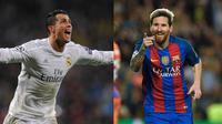 Cristiano Ronaldo (kiri) dan Lionel Messi. (UEFA.com)