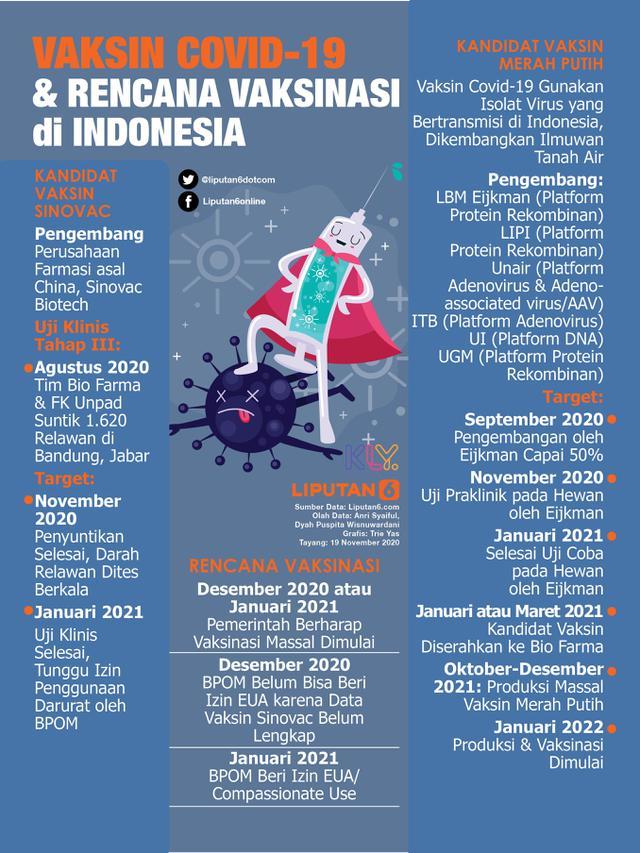 Infografis Vaksin Covid-19 dan Rencana Vaksinasi di Indonesia. (Liputan6.com/Triyasni)