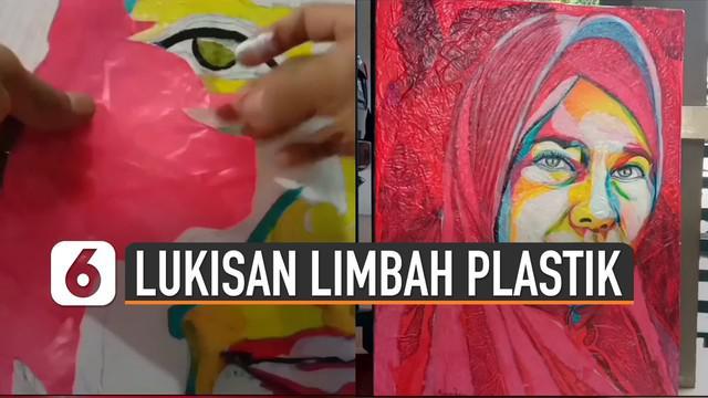 Karya lukisan memang banyak sekali seniman yang membuat. Tetapi karya lukisan seniman satu ini berbeda karena menggunakan sampah limbah plastik kresek.