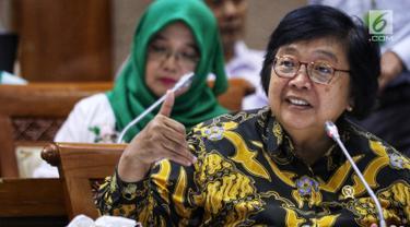 Menteri Lingkungan Hidup dan Kehutanan (LHK) Siti Nurbaya Bakar memberi paparan saat rapat kerja dengan Komisi VII DPR di Gedung DPR, Jakarta, Rabu (15/5/2019). Rapat membahas persoalan bekas lahan tambang yang harus segera ditangani oleh Kementerian LHK. (Liputan6.com/JohanTallo)