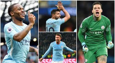 Berikut ini lima pemain yang menjadi kunci kesuksesan Manchester City dalam menjuarai Premier League 2019. Diantaranya Ederson Moraes, Kun Aguero dan Raheem Sterling. (Foto Kolase AP dan AFP)