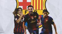 Barcelona - Carles Puyol, Xavi, Sylvinho (Bola.com/Adreanus Titus)