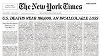 Surat kabar ternama New York Times memasang daftar panjang dari nama-nama masyarakat di AS yang meninggal karena Virus Corona COVID-19. (NY Times)