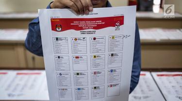 KPU Validasi Nama Caleg di Surat Suara Pemilu 2019