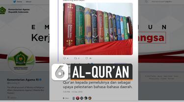 Kemenag sudah melakukan penerjemahan Al-Qur'an dalam 21 bahasa daerah.