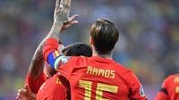 Sergio Ramos kini masuk dalam jajaran pencetak gol terbanyak sepanjang masa Timnas Spanyol. (AFP/Daniel Mihailescu)