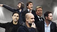 Andrea Pirlo, Antonio Conte, Ronald Koeman, Josep Guardiola, Frank Lampard, Mikel Arteta. (Bola.com/Dody Iryawan)