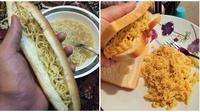 Cara tak biasa orang makan mi sama roti ini bikin warganet geregetan. (Sumber: Twitter/@iftauddin/Mirror)