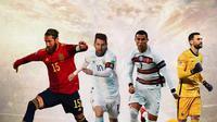 Ilustrasi - Sergio Ramos, Lionel Messi, Cristiano Ronaldo, Hugo Lloris (Bola.com/Adreanus Titus)