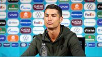 Bintang Portugal Cristiano Ronaldo dalam konferensi pers jelang laga melawan Hungaria dalam Euro 2020 di Puskas Arena, Budapes, Senin, 14 Juni 2021. (Handout / UEFA / AFP)