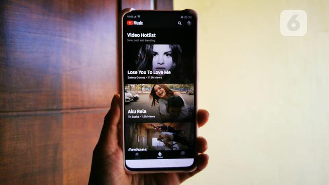 Tampilan YouTube Music ketika menampilkan rekomendasi video hotlist. Liputan6.com/Mochamad Wahyu Hidayat