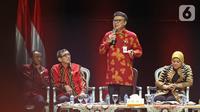 Menpan RB Tjahjo Kumolo menyampaikan paparan saat diskusi panel V Rakornas Indonesia Maju antara Pemerintah Pusat dan Forum Koordinasi Pimpinan Daerah (Forkopimda) di Bogor, Rabu (13/11/2019). Panel V itu membahas penyederhanaan regulasi dan reformasi birokrasi (Liputan6.com/Herman Zakharia)