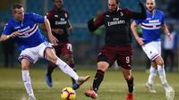 Gonzalo Higuain berusaha melewati hadangan pemain Sampdoria. (dok. AC Milan)