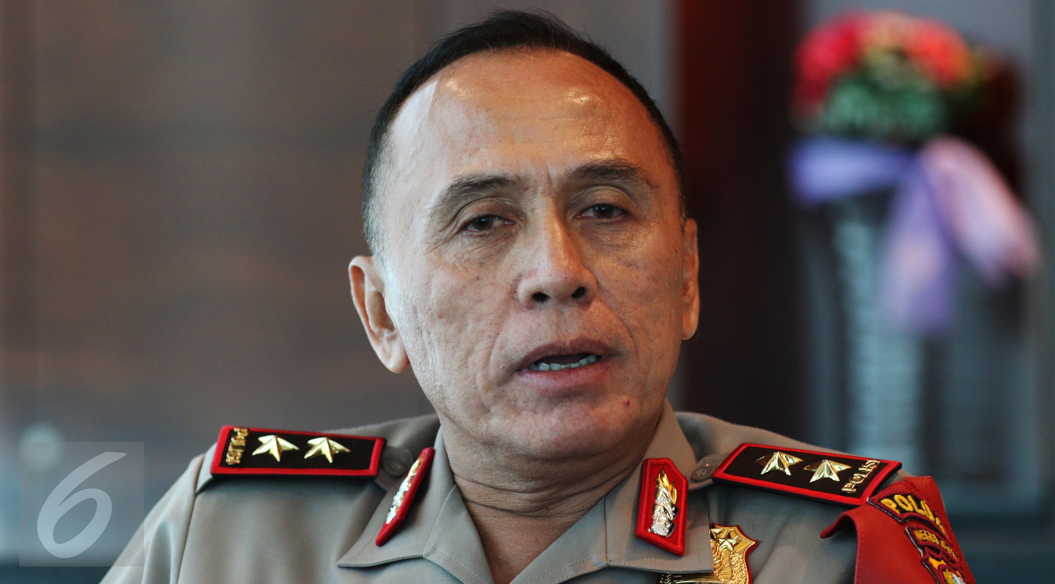Kapolda Metro Jaya Irjen. Pol. Drs. Mochamad Iriawan saat berkunjung ke SCTV Tower, Jakarta, Senin (20/2). (Liputan6.com/Fatkhur Rozaq)