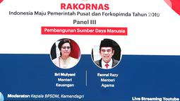 Dirjen Perimbangan Keuangan Kemenkeu Astera Primanto Bhakti, Menteri Agama Fachrul Razi dan Kepala BPSDM Kemendagri Teguh Setyabudi (ki-ka) usai diskusi panel III  Rakornas Indonesia Maju antara Pemerintah Pusat dan Forkopimda di Bogor, Rabu (13/11/2019). (Liputan6.com/Herman Zakharia)