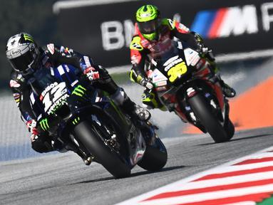 Pembalap Monster Energy Yamaha, Maverick Vinales, saat mengikuti latihan bebas (FP3) MotoGP Styria di Sirkuit Red Bull Ring, Austria, Sabtu (22/8/2020). Joan Mir finis pertama pada FP3 MotoGP Styria dengan catatan waktu 1 menit 23,456 detik. (AFP/Joe Klamar)
