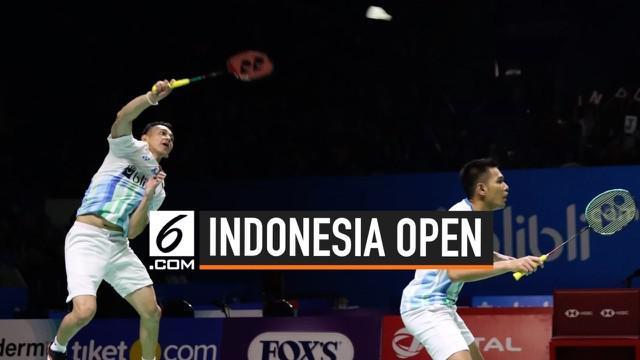 Ganda Putra Indonesia Fajar Alfian dan Muhammad Rian Ardianto berhasil mengalahkan ganda putra China di Indonesia Open 2019.
