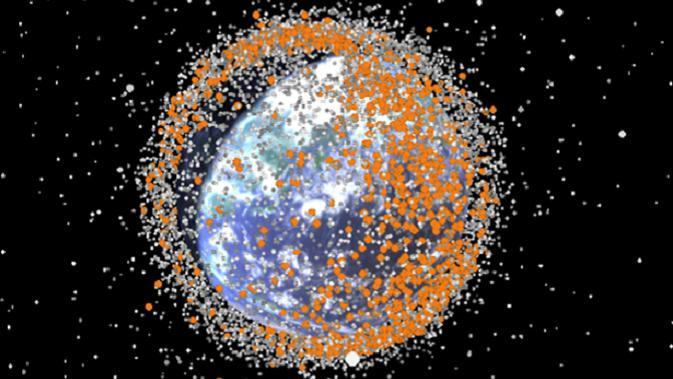 Ilustrasi sampah antariksa yang ada di sekitar orbit bumi (sumber: mirror.com)