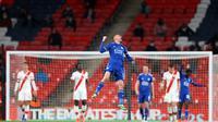 Jamie Vardy merayakan kelolosan Leicester City ke final Piala FA. (Richard Heathcote / POOL / AFP)