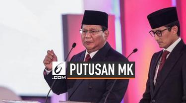 Prabowo-Sandi merespons keputusan Mahkamah Konstitusi (MK) yang menolak gugatan kubunya. Ia menghormati keputusan MK, namun akan berdiskusi dengan timnya untuk menentukan langkah hukum selanjutnya.