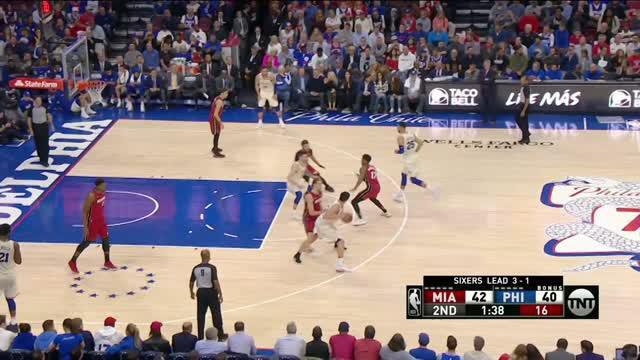 Berita video game recap NBA 2017-2018 antara Philadelphia 76ers melawan Miami Heat dengan skor 104-91.