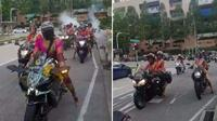Emak-emak berkain sari penunggang Kawasaki Ninja H2 pimpin konvoi moge. (World of Buzz)