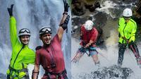 Ririn Ekawati dan Ibnu Jamil lakukan olahraga ekstrem (Sumber: Instagram/muhamad.tomi119)