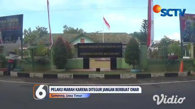 Seorang pemuda yang sedang mabuk menyerang seorang anggota TNI di Sumenep, Jawa Timur. Peristiwa yang terjadi di depan minimarket itu direkam oleh warga dan menjadi viral. Hal tersebut terjadi karena diduga pelaku marah akibat ditegur agar tidak memb...