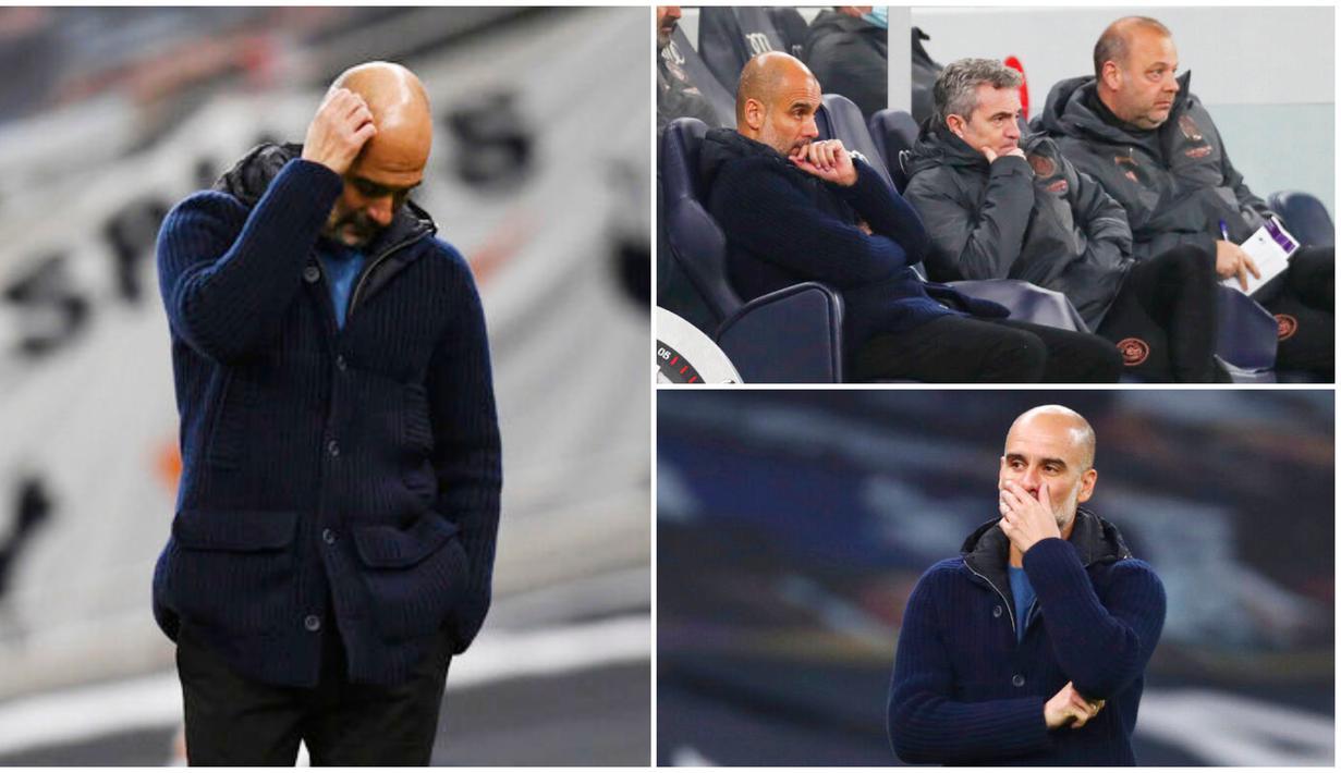 Pelatih Manchester City, Pep Guardiola, tampak tegang saat anak asuhnya menghadapi Tottenham Hotspur pada laga Liga Inggris. Di akhir pertandingan pelatih asal Spanyol itu pun menjadi kecewa lantaran timnya dihajar dua gol tanpa balas.
