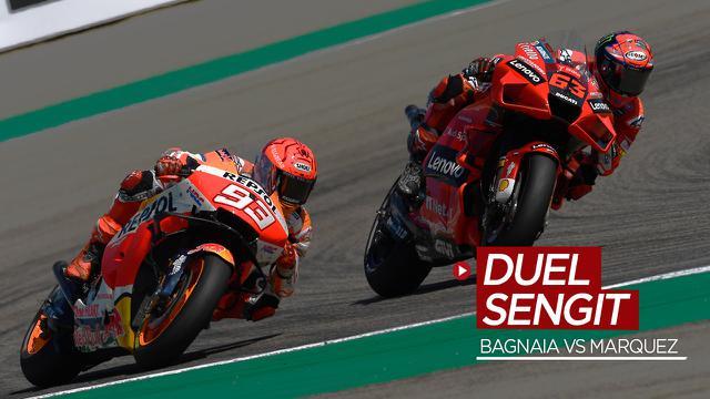 Thumbnail video momen duel sengit Pecco Bagnaia dengan Marc Marquez di MotoGP Aragon 2021, Minggu (12/9/2021).
