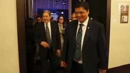 Menteri Perindustrian RI, Airlangga Hartarto dan Wakil PM sekaligus Menlu Selandia Baru, Winston Peters usai menghadiri New Zealand Tech Day 2018, Jakarta (4/10). New Zealand Tech Day menghadirkan lima perusahaan terbaik Selandia Baru. (Foto:Istimewa)
