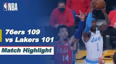 Berita video highlight NBA, Philadelphia 76ers Sukses Permalukan Tuan Rumah LA Lakers 109-101, Jumat (26/3/2021)