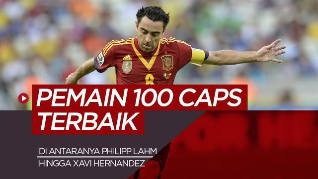 Berita motion grafis Xavi Hernandez dan 4 pemain timnas terbaik Lainnya dengan 100 caps, dominasi pemain Spanyol.