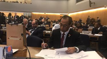 Menteri Perhubungan Budi Karya Sumadi sampaikan komitmen Indonesia dalam menciptakan pelayaran yang aman di sidang International Maritime Organization (IMO) ke-31 di London.