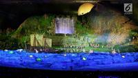Sejumlah penari membawakan drama kolosal masa kejayaan Majapahit saat pembukaan Asian Games 2018 di Stadion Gelora Bung Karno, Senayan, Jakarta, Sabtu (18/8). (Liputan6.com/Fery Pradolo)