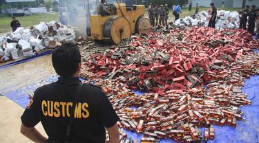 Petugas Bea Cukai Berhasil Amankan Jutaan Batang Rokok Ilegal di Sumatera Utara dan Jawa Barat