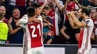Edson Alvarez mencetak gol bagi Ajax Amsterdam pada leg kedua play-off Liga Champions melawan APOEL di Johan Cruyff Arena, Rabu (29/8/2019) atau Kamis dini hari WIB. (Twitter Ajax)