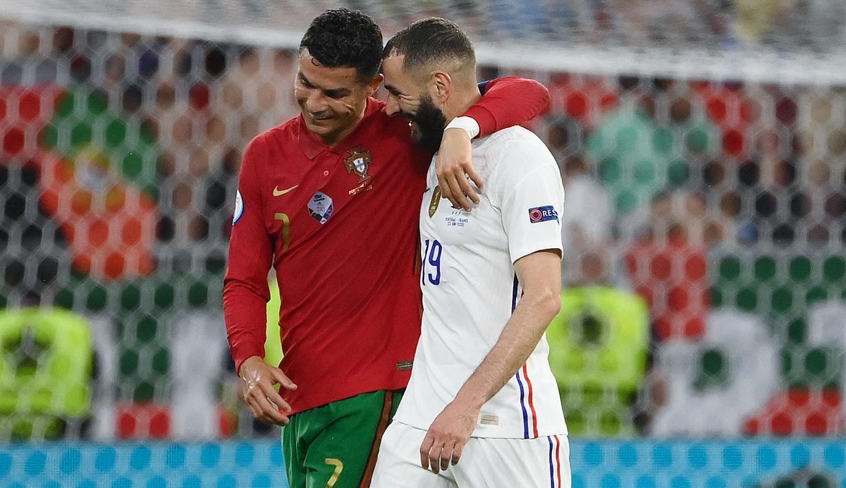 Portugal dan Prancis sama-sama berbagi poin pada laga pamungkas fase Grup F Euro 2020. Dengan hasil ini, baik Portugal maupun Prancis berhasil mentas dari fase grup dan lolos ke babak 16 besar. (Foto: AFP/Pool/Franck Fife)