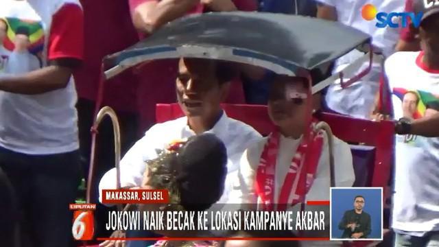 Sejauh 2 kilometer Jokowi berjalan di Kota Makassar menuju ke lokasi kampanye. Tidak hanya becak tapi juga sekelompok pemusik tradisional setempat dan ribuan simpatisan turut serta.