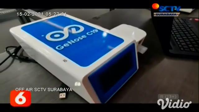 Stasiun Surabaya Pasar Turi memberi layanan pemeriksaan Covid-19 bagi calon penumpang melalui alat Genose. Mulai hari Senin (15/2), layanan deteksi Covid-19 khusus bagi penumpang kereta api jarak jauh dan menengah ini dikenakan Rp 20.000 per orang.