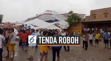 Angin kencang merobohkan sebuah tenda berukuran besar di India. Belasan warga yang sedang ikuti peringatan keagamaan tewas tertimpa tenda.
