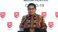 Juru Bicara Satuan Tugas Penanganan COVID-19 Wiku Adisasmito menjelaskan persentase tingkat kesembuhan terus menanjak naik hingga 23 Juli 2020 di Kantor Presiden dalam keterangan pers, Jumat (24/7/2020). (Dok Biro Pers Sekretariat Presiden/Foto Rusman)