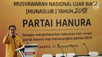 Marsekal Madya (Purn) Daryatmo memberikan pidato saat Munaslub Partai Hanura kubu Sarifuddin Sudding di Jakarta, Kamis (18/1). Daryatmo terpilih secara aklamasi menjadi Ketua Umum Hanura menggantikan Oesman Sapta Oedang (OSO). (Liputan6.com/Johan Tallo)