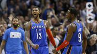 Seleberasi pemain Thunder Paul George usai kalahkan Jazz di laga NBA (AP)