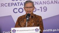 Juru Bicara Pemerintah untuk Penanganan COVID-19 Achmad Yurianto saat konferensi pers Corona di Graha BNPB, Jakarta, Jumat (10/7/2020). (Dok Badan Nasional Penanggulangan Bencana/Fotografer Ignatius Toto Satrio)
